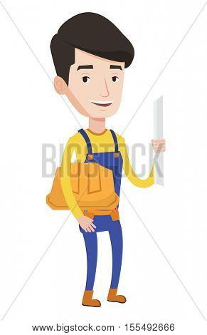 Young friendly engineer with a blueprint. Engineer holding a twisted blueprint and hard hat. An engineer checking construction works. Vector flat design illustration isolated on white background.