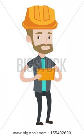 Hipster engineer with beard working on a digital tablet. Engineer in hard hat working on a tablet computer. Caucasian engineer at work. Vector flat design illustration isolated on white background.