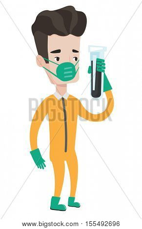 Scientist in protective suit holding a test-tube with black liquid. Scientist in protective chemical suit analyzing liquid in test-tube. Vector flat design illustration isolated on white background.