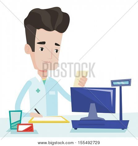 Pharmacist writing on clipboard and holding prescription. Pharmacist standing at pharmacy counter. Pharmacist reading prescription. Vector flat design illustration isolated on white background.