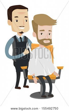 Barber cutting hair of hipster man with beard at barbershop. Professional barber making haircut to a client with scissors in barbershop. Vector flat design illustration isolated on white background.