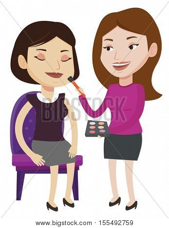 Make up artist applying makeup on woman face. Visagiste doing makeup to young girl. Visagiste doing makeup to a model using a brush. Vector flat design illustration isolated on white background.