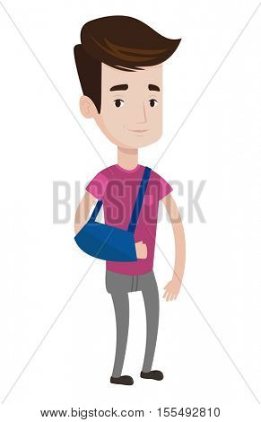 An injured caucasian man wearing an arm brace. Young smiling man with his broken right arm. Man with broken arm in a cast. Vector flat design illustration isolated on white background.