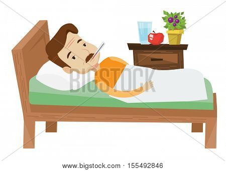 Caucasian sick man with fever laying in bed. Sick man measuring temperature with thermometer in mouth. Sick man suffering from flu virus. Vector flat design illustration isolated on white background.