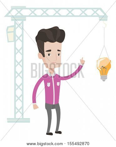 Young caucasian man pointing at light bulb hanging on crane. Architect having idea in town planning. Concept of new ideas in architecture. Vector flat design illustration isolated on white background.