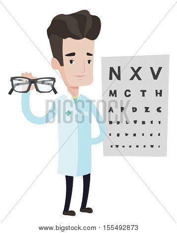 Caucasian male oculist doctor giving glasses. Oculist doctor holding eyeglasses on the background of eye chart. Oculist offering glasses. Vector flat design illustration isolated on white background.