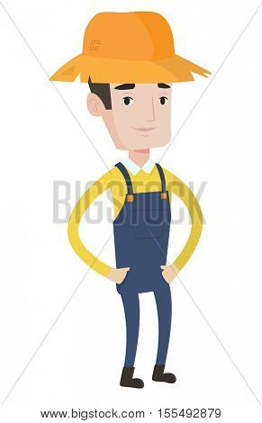 Proud caucasian farmer in summer hat. Farmer standing with hands in his pockets. Illustration of full lenght of young satisfied farmer. Vector flat design illustration isolated on white background.