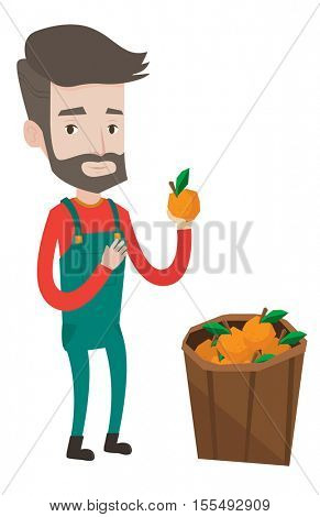Happy caucasian farmer holding an orange. Hipster farmer with beard collecting oranges. Gardener standing near basket full with oranges. Vector flat design illustration isolated on white background.