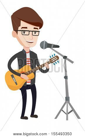 Caucasian guitar player singing song and playing an acoustic guitar. Singer singing into a microphone and playing an acoustic guitar. Vector flat design illustration isolated on white background.