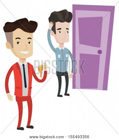 Happy caucasian businessman showing key on the background of young man looking at door. Concept of making the right decision in business. Vector flat design illustration isolated on white background.