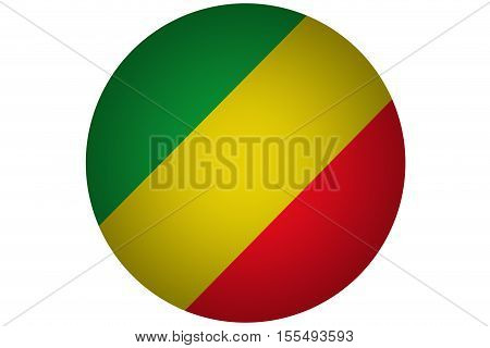 3D Republic of the congo flag ,Congo national flag illustration symbol.