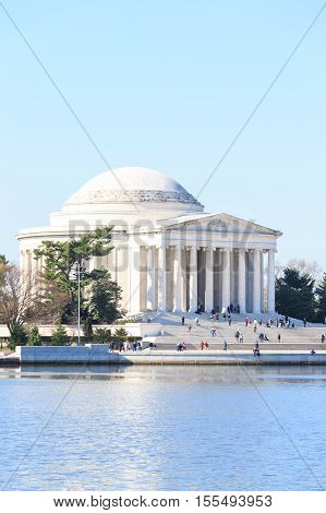 Thomas Jefferson Memorial during Cherry Blossom Festival in spring - United States