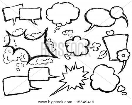 Hand Drawn Speech And Thought Bubbles. Visit my portfolio for big collection of doodles
