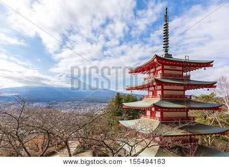 Mt. Fuji with Chureito Pagoda in Fujiyoshida, Japan