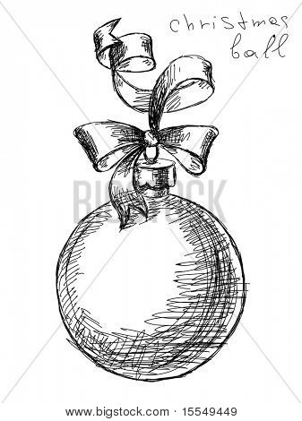 hand drawn christmas ball vector. Visit my portfolio for big collection of doodles