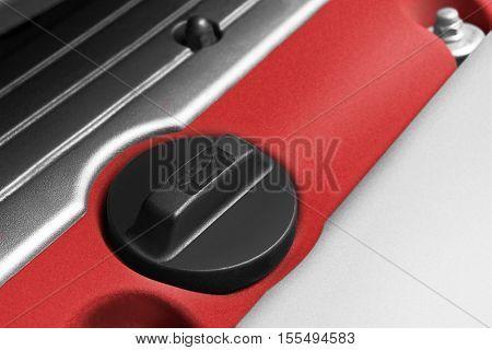Oil filler on engine close-up