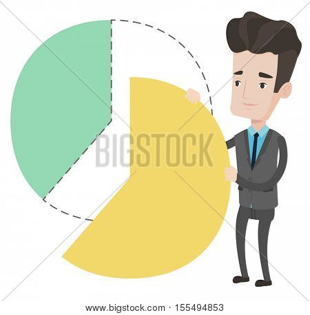 Caucasian shareholder taking his share of financial pie chart. Young shareholder getting his share of profit. Businessman sharing profit. Vector flat design illustration isolated on white background.