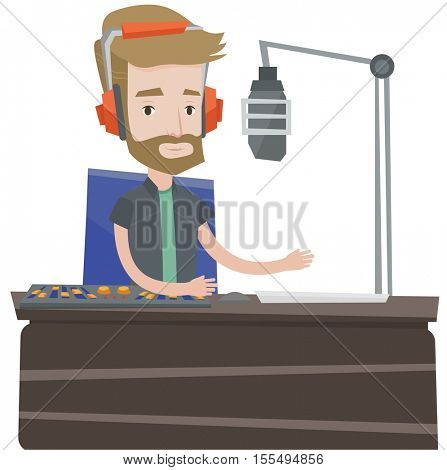 Hipster radio dj working on mixing console and speaking into a microphone on radio. News presenter in headset working on a radio station. Vector flat design illustration isolated on white background.