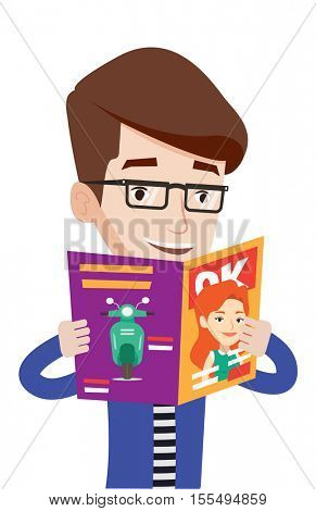 Caucasian man reading a magazine. Young cheerful man standing with magazine in hands. Happy smiling man reading good news in a magazine. Vector flat design illustration isolated on white background.