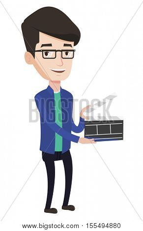 Happy caucasian man working with a clapperboard. Smiling man holding an open clapperboard. Cheerful man holding blank movie clapperboard. Vector flat design illustration isolated on white background.