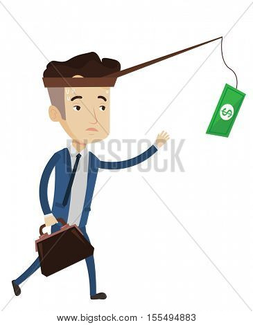 Money on fishing rod as motivation for businessman. Businessman motivated by money hanging on fishing rod. Concept of business motivation. Vector flat design illustration isolated on white background.