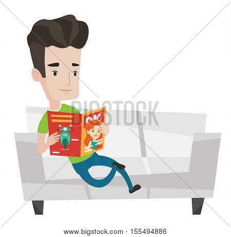 Young caucasian man reading a magazine. Relaxed man sitting on sofa and reading magazine. Man sitting on the couch with magazine in hands. Vector flat design illustration isolated on white background.