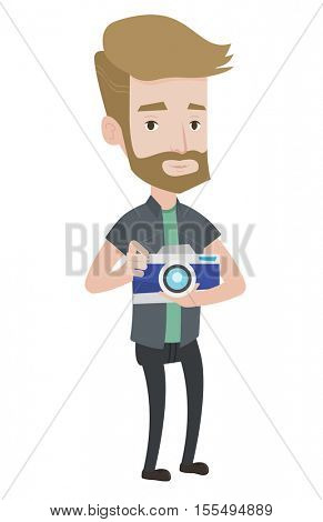 Hipster photographer with beard holding a camera. Caucasain photographer using professional camera. Young photographer taking a photo. Vector flat design illustration isolated on white background.