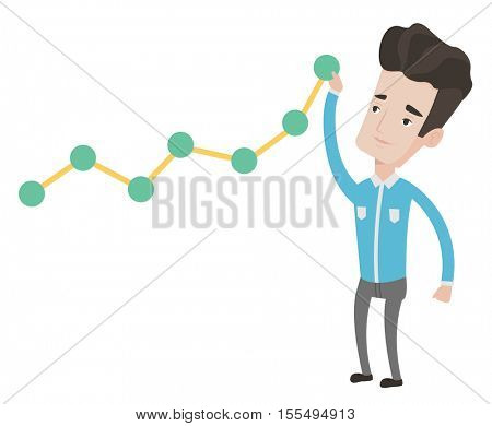 Young businessman looking at chart going up. Businessman lifting a business chart. Caucasian businessman pulling up a business chart. Vector flat design illustration isolated on white background.