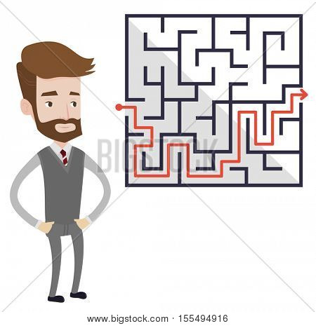 Hipster businessman looking at labyrinth with solution. Caucasian businessman thinking about business solution. Business solution concept. Vector flat design illustration isolated on white background.