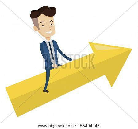 Businessman sitting on arrow going to success. Successful businessman flying up on arrow. Concept of moving forward for business success. Vector flat design illustration isolated on white background.