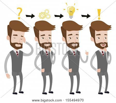 Hipster businessman with beard during business planning. Caucasian businessman working on a new business plan. Business planning concept. Vector flat design illustration isolated on white background.