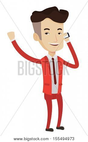 Successful businessman getting good news on mobile phone. Happy successful businessman talking on mobile phone. Business success concept. Vector flat design illustration isolated on white background.