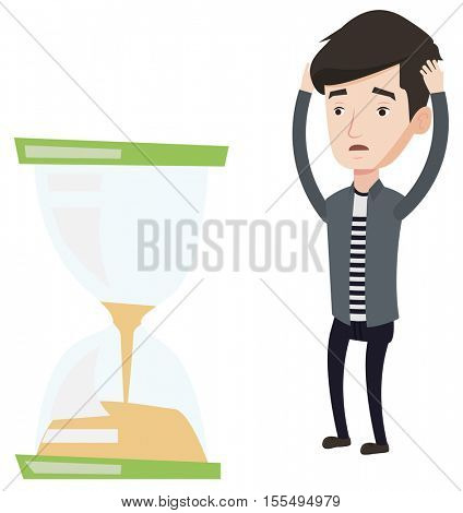 Caucasian businessman looking at hourglass symbolizing deadline. Man worrying about deadline terms. Time management and deadline concept. Vector flat design illustration isolated on white background.