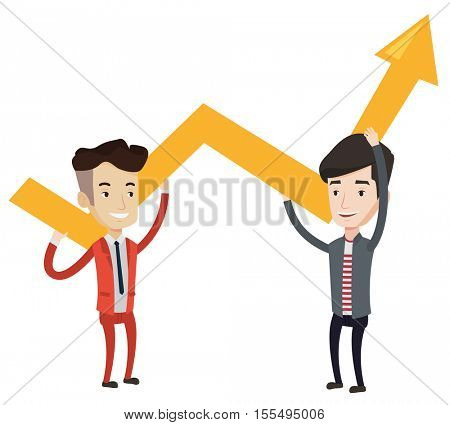 Two caucasain smiling businessmen holding growth graph. Cheerful business team with growth graph. Concept of business growth and teamwork. Vector flat design illustration isolated on white background.