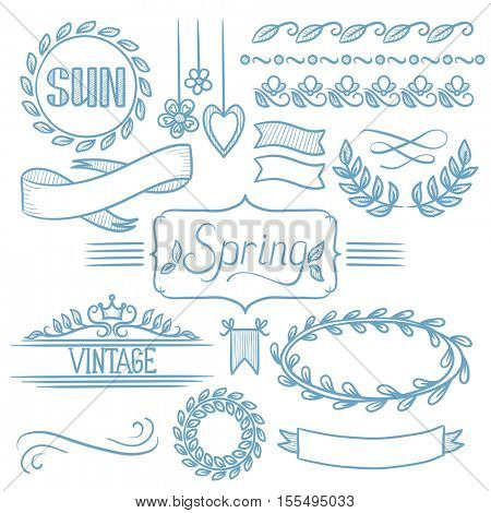 Set of vintage labels, ribbons, frames, banners and elements. Spring concept. Hand drawn vector sketch illustration on white background.