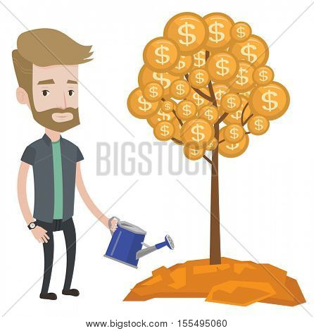 Hipster man watering money tree. Man investing money in business project. Illustration of investment money in business. Investment concept. Vector flat design illustration isolated on white background