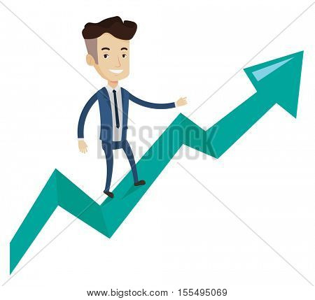 Caucasian successful businessman standing on profit chart. Cheerful businessman running along the profit chart. Business profit concept. Vector flat design illustration isolated on white background.