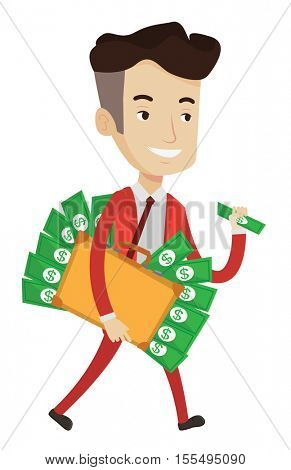 Caucasian happy businessman with briefcase full of money committing economic crime. Businessman stealing money. Economic crime concept. Vector flat design illustration isolated on white background.