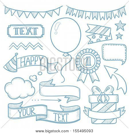 Set of vintage labels, ribbons, frames, banners and elements for party or birthday invitation. Hand drawn vector sketch illustration on white background.
