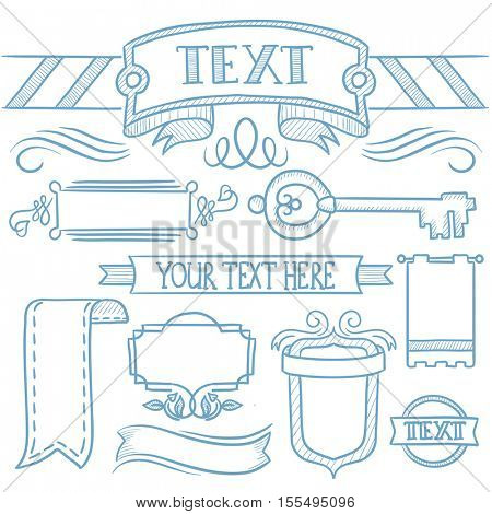 Set of vintage labels, ribbons, frames, banners, logo and advertisements. Hand drawn vector sketch illustration on white background.