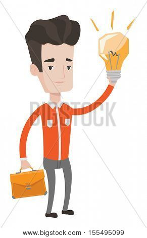 Caucasian businessman with a briefcase pointing at business idea light bulb. Man having a business idea. Successful business idea concept. Vector flat design illustration isolated on white background.