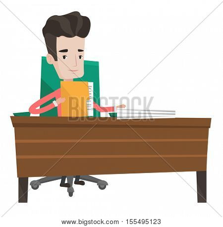 Caucasian office worker working with documents. Office worker sitting at the table with documents. Office worker inspecting documents. Vector flat design illustration isolated on white background.