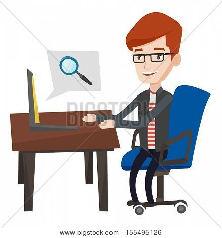 Young caucasian businessman working on his laptop in office and searching information on internet. Internet search and job search concept. Vector flat design illustration isolated on white background.
