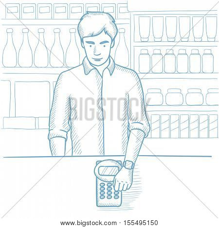 Man paying wireless with smart watch at the store. Customer making payment for purchase with smart watch. Man making payment with smart watch. Hand drawn vector sketch illustration on white background