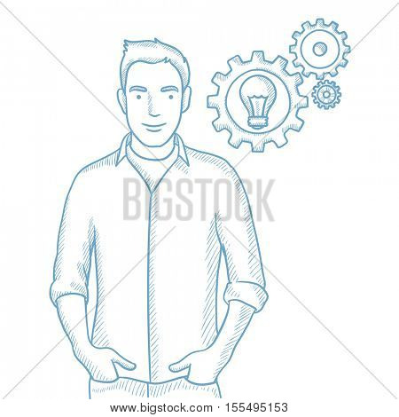 Successful caucasian man with business idea bulb in gear. Young happy businessman having a business idea. Successful business idea concept. Hand drawn vector sketch illustration on white background.