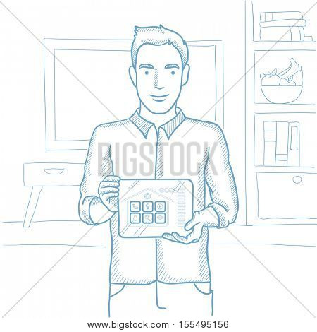 Caucasian man holding tablet computer with remote home control system on screen. Man showing tablet computer with smart home app on a screen. Hand drawn vector sketch illustration on white background.