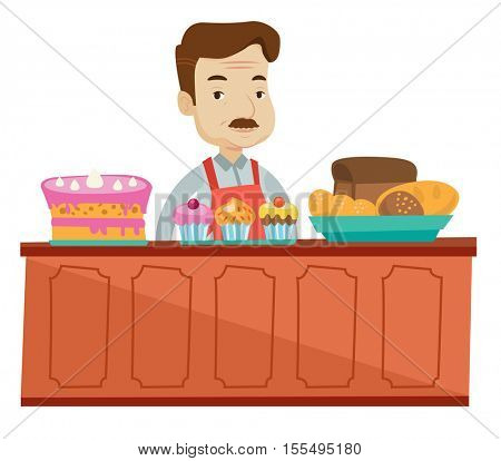 An adult bakery worker offering pastry. A bakery worker standing behind the counter with cakes at the bakery. Man working at the bakery. Vector flat design illustration isolated on white background.