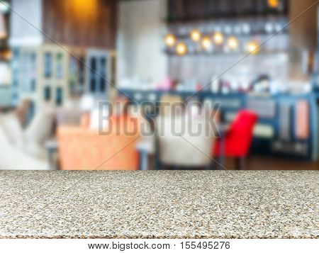 Marble Board Empty Table In Front Of Blurred Cafe