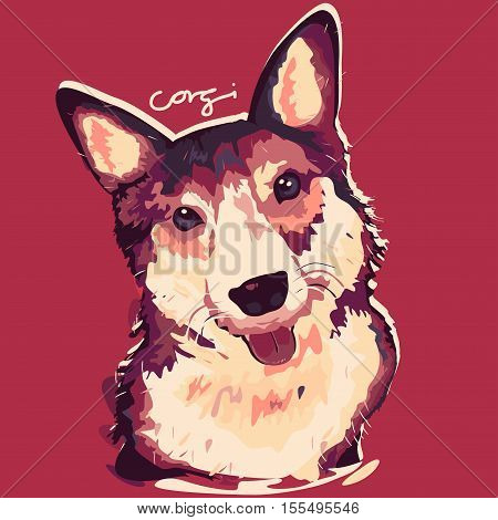 A vector illustration of Corgi Dog Painting Poster