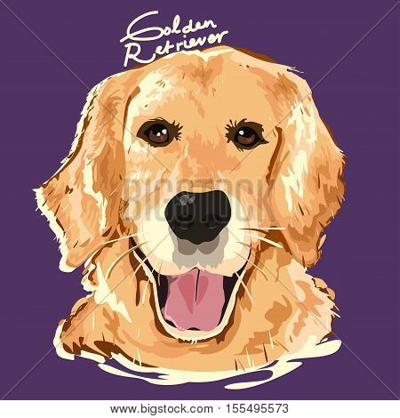 A vector illustration of Golden Retriever Painting Poster